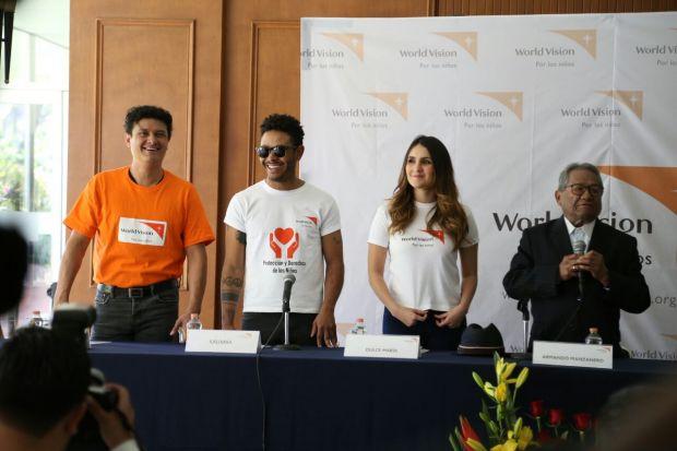 Juan Pablo Manzanero, Kalimba, Dulce María, embajadores de World Vision. Los acompaña el maestro Armando Manzanero