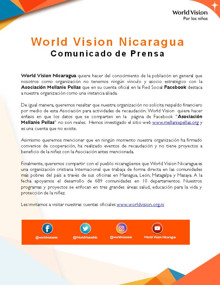 Falso asocio de World Vision Nicaragua con Asociación Mellanie Pellas